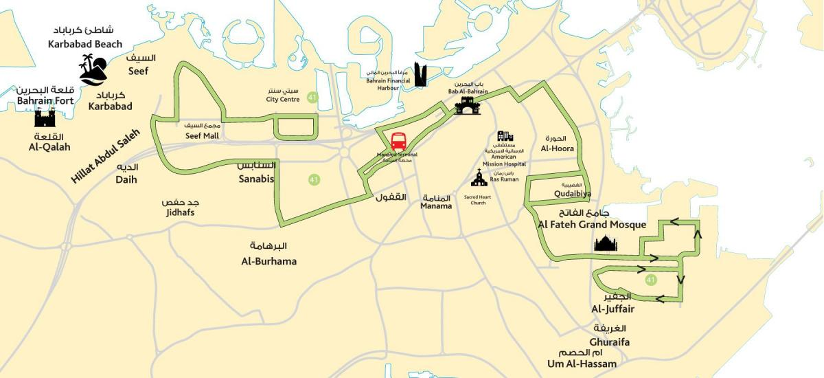 mapa ng lungsod center Bahrain